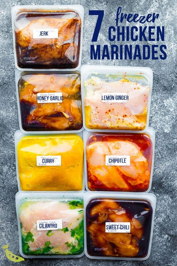 7 chicken marinade recipes you can freeze. This post shows you exactly how to marinate chicken breasts to get the BEST flavor, and how to freeze them for easy convenient dinners.frozen chicken marinade, best chicken marinade, clean chicken marinade,