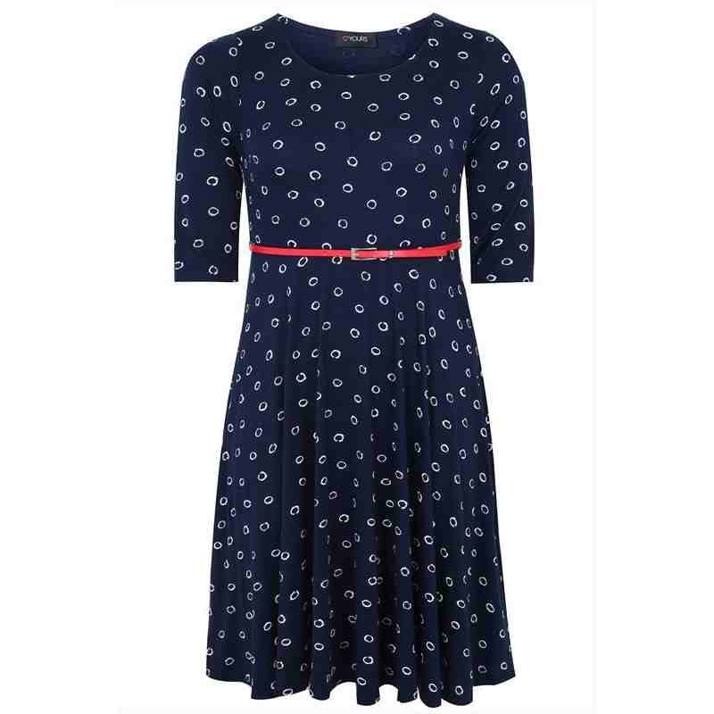 PRE-ORDER - Navy & White Polka Dot Skater Dress With Detachable Belt $79.00 http://www.curvyclothing.com.au/index.php?route=product/product&path=95_105&product_id=8004