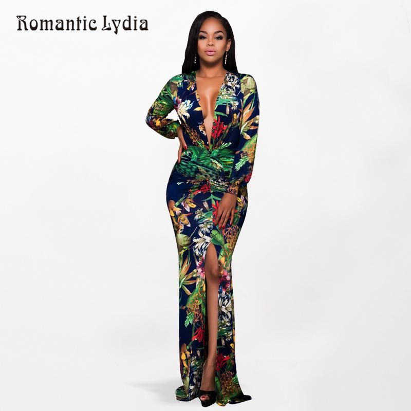 a39343e64819 Women 2018 Summer Tropical Floral Print Bodycon Vintage Long Dress V Neck  Split Floor Length Retro Sexy Maxi Dresses Plus Size. Yesterday s price  US   26.32 ...
