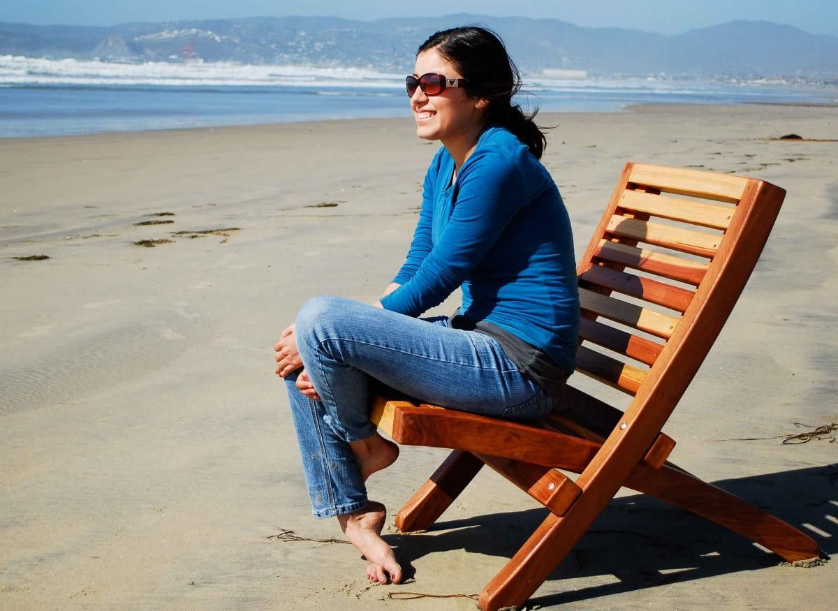 2 beach chairs on the beach - Two Piece Wooden Chairs Portable Folding Beach Chair Folding Chairs