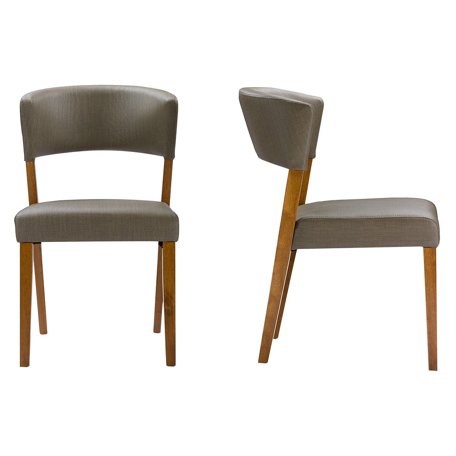 2pk Mid Century Dining Chairs Walnut Gray Faux Leather Baxton