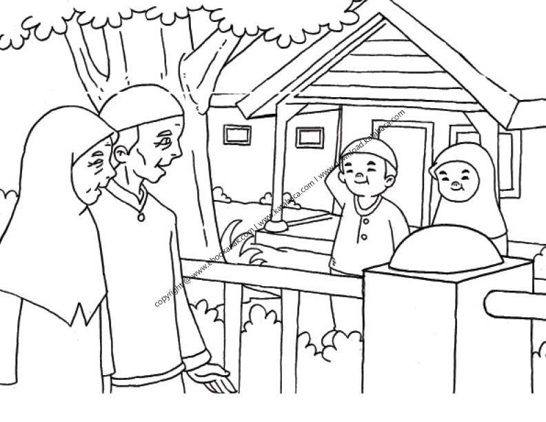 Gambar Mewarnai Anak Sedang Berkunjung Ke Rumah Kakek Nenek 25
