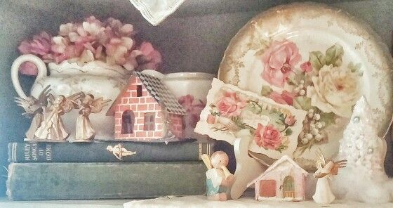 A Pink, Vintage Christmas, Putz House, Angels, Shabby Chic Roses....photo by Julie Cruzan