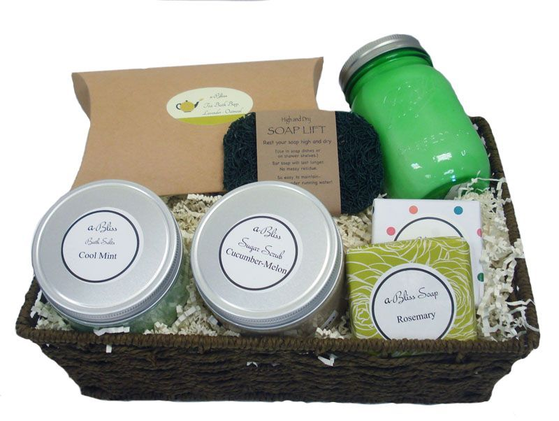 A Little More Floral a-Bliss Gift Basket- All natural bath products handcrafted at Abilis. All profits support people with disabilities.