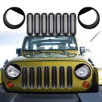 Newest Front Grill Mesh Grille Insert Kit Front Light Bezels
