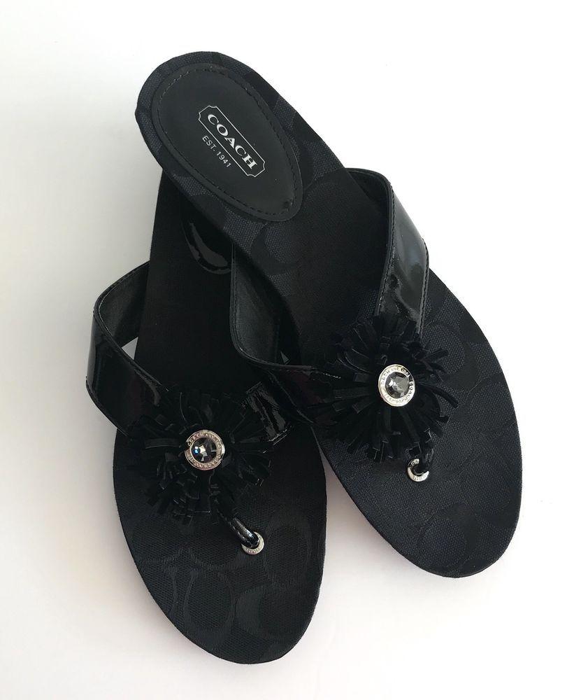 073d35399624 Coach Suki Black Signature Jacquard Womens Size 9.5 Sandals Shoes Flip Flop   Coach  FlipFlops