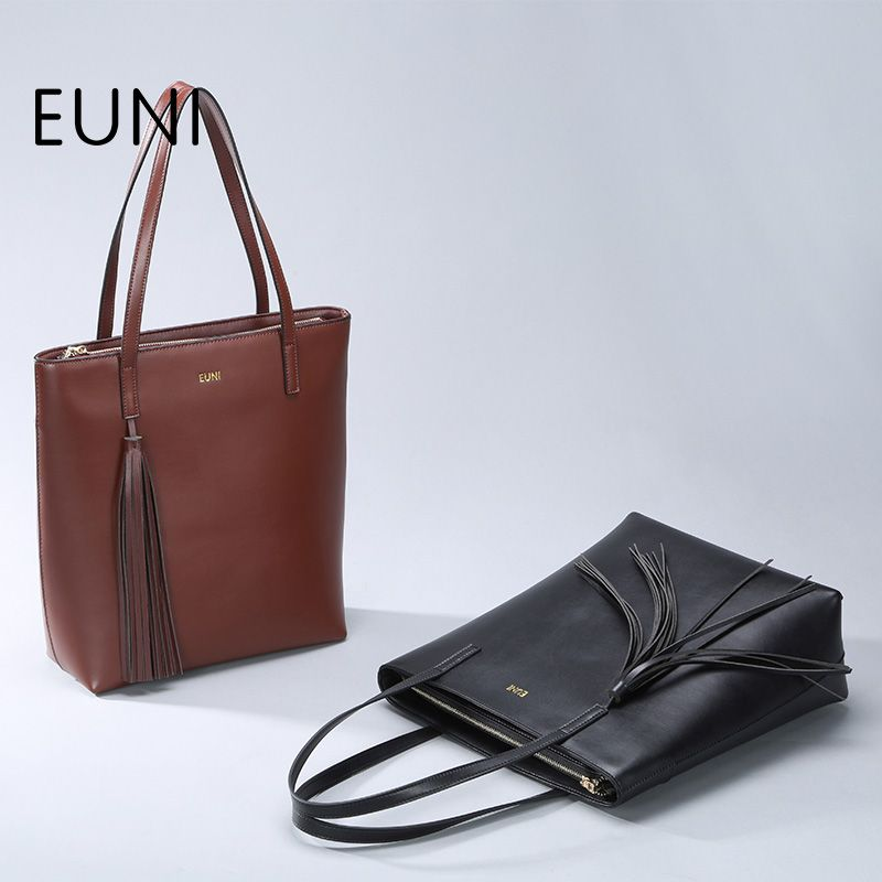 6e2961168bd3 EUNI Luxury Brand Famous Cowhide Leather Woman Handbag Tassel Designer  Brand Shoulder Bag Ladies Hand Bags