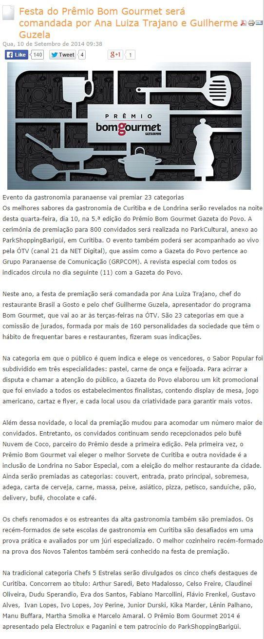 Portal da Propaganda Festa do Prêmio Bom Gourmet será comandada por Ana Luiza Trajano e Guilherme Guzela