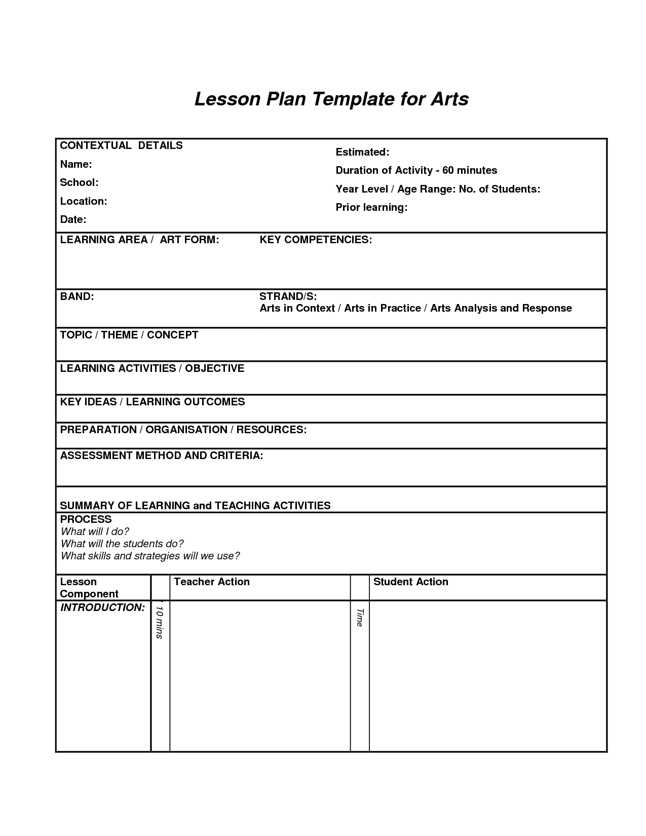 Lesson plan template for arts art education essentials for Project activity plan template
