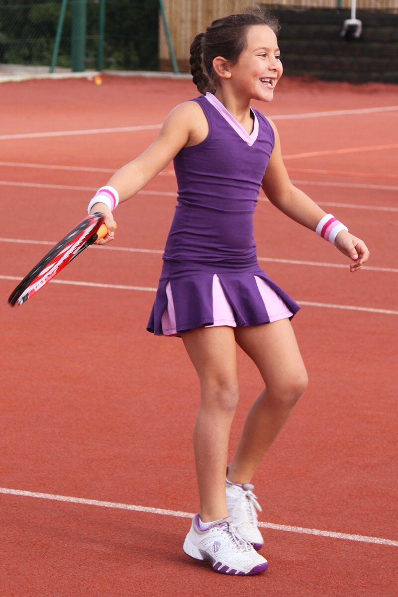 Tennis Outfit Girls Purple Pink Pleated Skirt V Neck Top Purple Tennis Outfit Girls Purple Pink Pleated Skirt V Girl Tennis Outfit Tennis Clothes Sports Attire