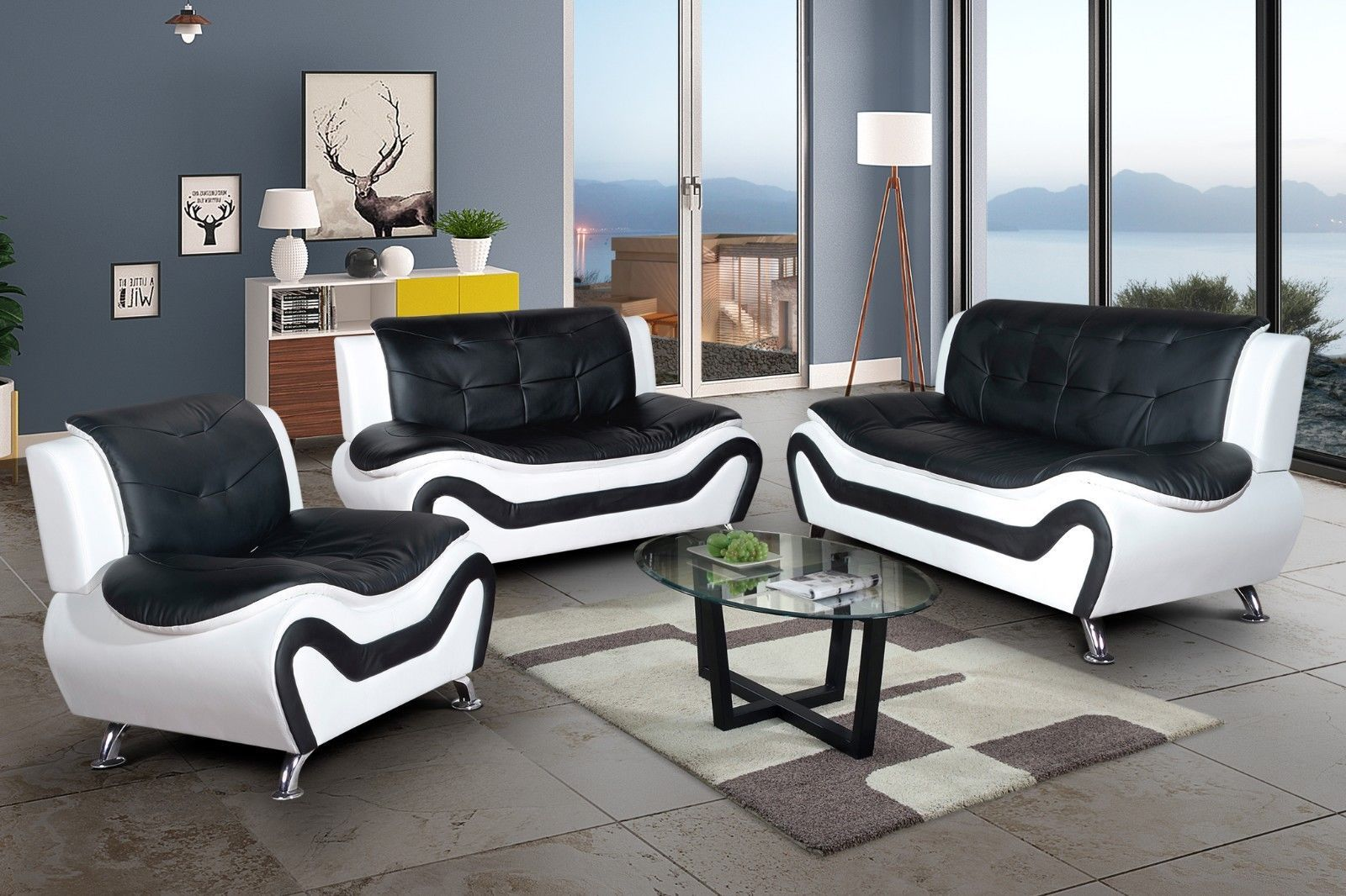 Strange Aycp Furniture 3Pc Living Room Sofa Set Faux Leather Blk Dailytribune Chair Design For Home Dailytribuneorg