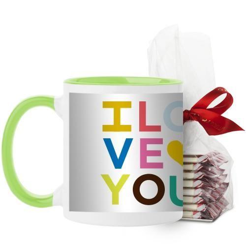 Colorful I Love You Mug, Green, with Ghirardelli Peppermint Bark, 11 oz, Yellow