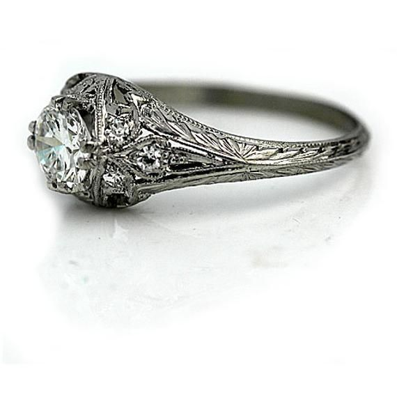 Art Deco Engagement Ring Platinum Engagement Ring