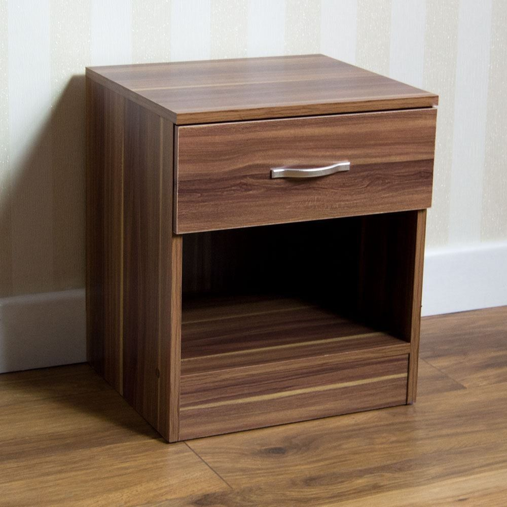 Small Walnut Bedside Table Drawer Small Storage Unit