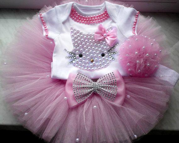 Hello Kitty cumpleaños Tutu conjunto niñas por BabyDressBoutique Más ...