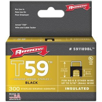 """Arrow Fastener Black T59 Insulated Staples For Rg59 Quad & Rg6 5 And 16"""" X 5 And 16"""" 300 Pk"""