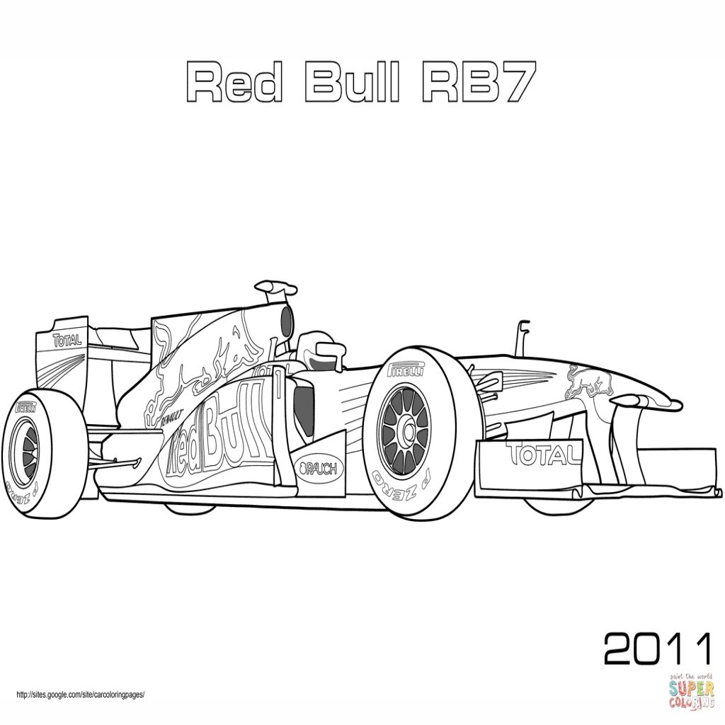 Red Bull Rb7 Formula 1 Car Coloring Pages Free Kleurplaten Thema