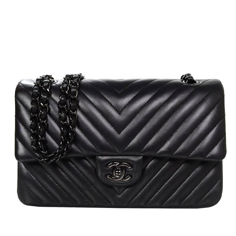 1cbe7a0b0578 View this item and discover similar shoulder bags for sale at - Authentic Chanel  Chevron SO Black Double Flap Classic. This bag is sold out everywhere and  ...