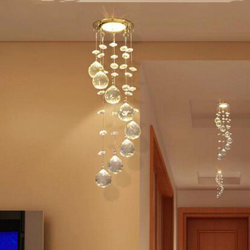 Sprial Crystal Chandelier Light Modern Decorative For Aisle Porch Small Hanging Lamp Veranda