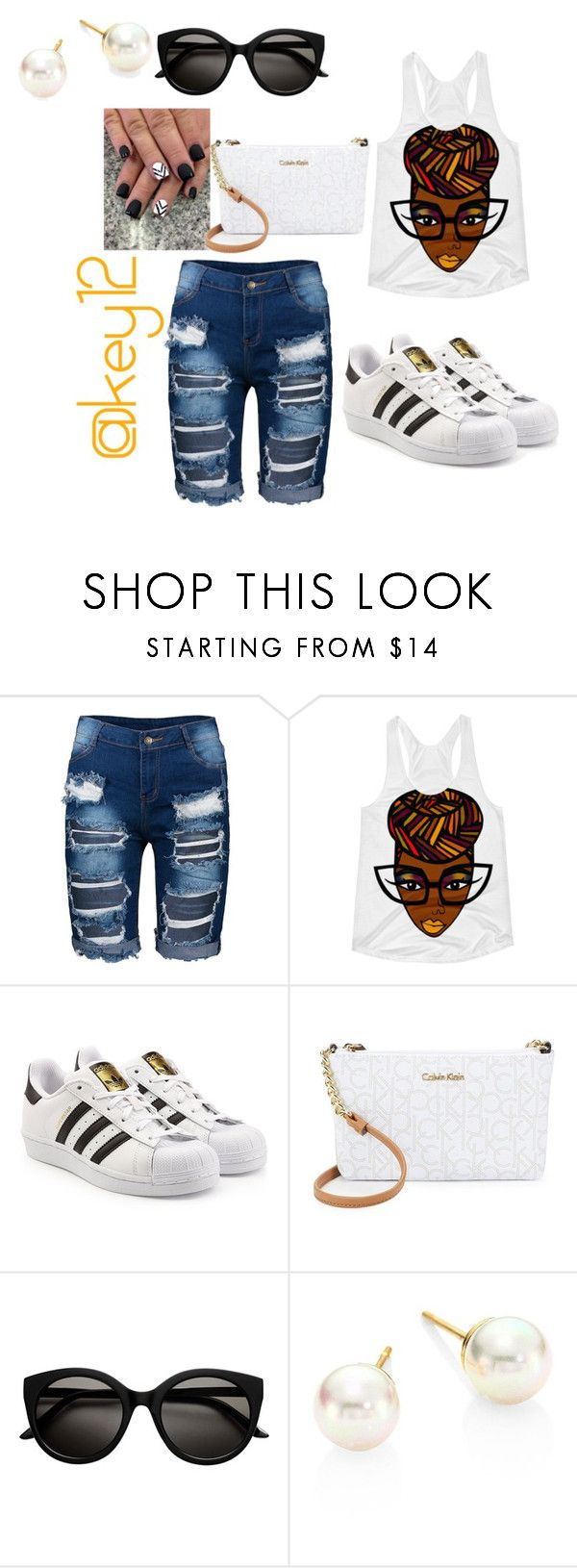 """""""summer day"""" by key12 ❤ liked on Polyvore featuring adidas Originals, Calvin Klein and Majorica"""