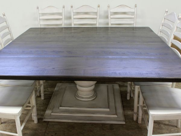 72 Inch Square Black Table In Reclaimed Old Oak Lake And Mountain Home Square Farmhouse Table Square Dining Room Table Large Square Dining Table