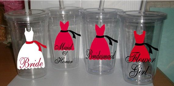 Bride Wedding Tumbler Set, Personalized, Maid of Honor, Bridesmaid, Flower Girl, Set of 4