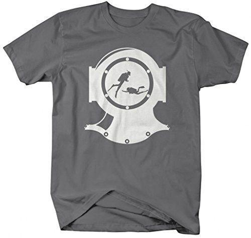 eae17e07ea1ee3 Shirts By Sarah Men's Scuba Diving T-Shirt Vintage Dive Helmet Hipster