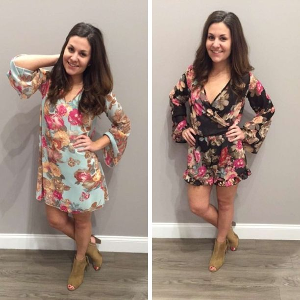 We LOVE floral! Both of these are absolutely ⓐⓓⓞⓡⓐⓑⓛⓔ  This Iowa weather has us wanting Spring like no other! We can't WAIT to wear these two new arrivals! Left - $65 Right - $60 #newarrivals #romper #springfashion #spring #shopalb #floral #shiftdress #fashion #ootd #apricotlanedesmoines #apricotlane #elan