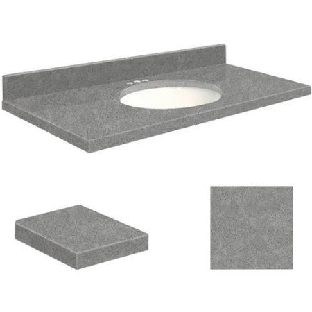 Transolid Quartz 37 inch x 19 inch Bathroom Vanity Top with Eased Edge, 4 inch Centerset and White Bowl, Available in Various Colors