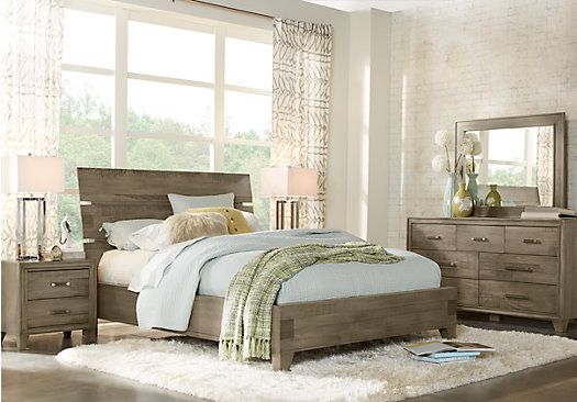 Crestwood creek gray 7 pc queen panel bedroom 1 for Cheap master bedroom sets