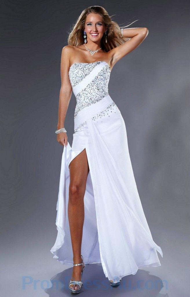 White Strapless Prom Dress ... Made Strapless White Beading Slit ...