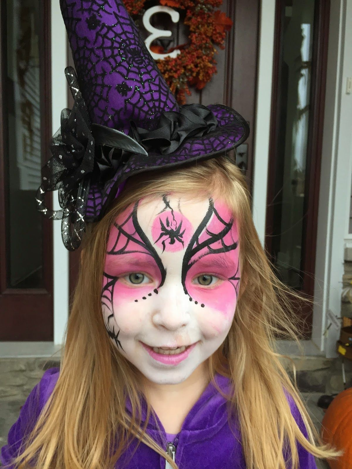 Uncategorized Little Girl Witch Face Paint glittered purple witch broom 25 inch 11 why yes i can drive a diy toddler costume tulle skirt tulle