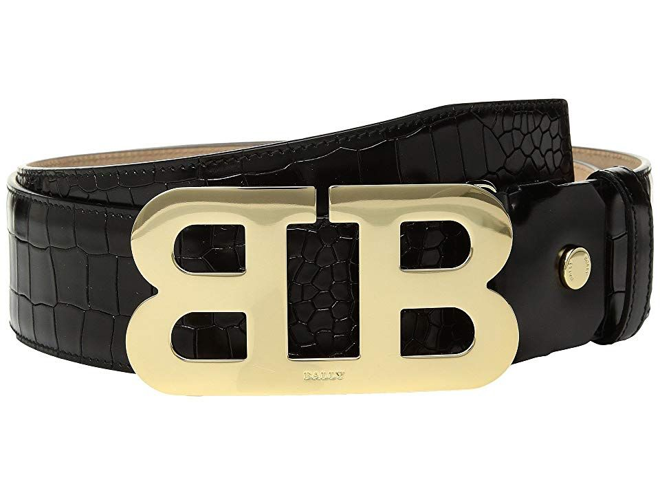 Bally Mirror B 45 Croc Stamped Belt (Black) Men's Belts. Put the right finishing touch on your look wearing this ravishing belt from Bally. Belt can be cut for desired adjustment and comfort. Embossed leather belt. Gold-tone double B shaped buckle. Single leather keeper. Spot clean only. Imported. Measurements: Width: 1 1 2 in First Hole Length: 42 in Last Hole Length: 46 in Weight: 9.2 oz Product measurements were taken using