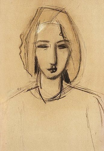 Helene Schjerfbeck - Portrait of a young girl, Charcoal and watercolour on paper