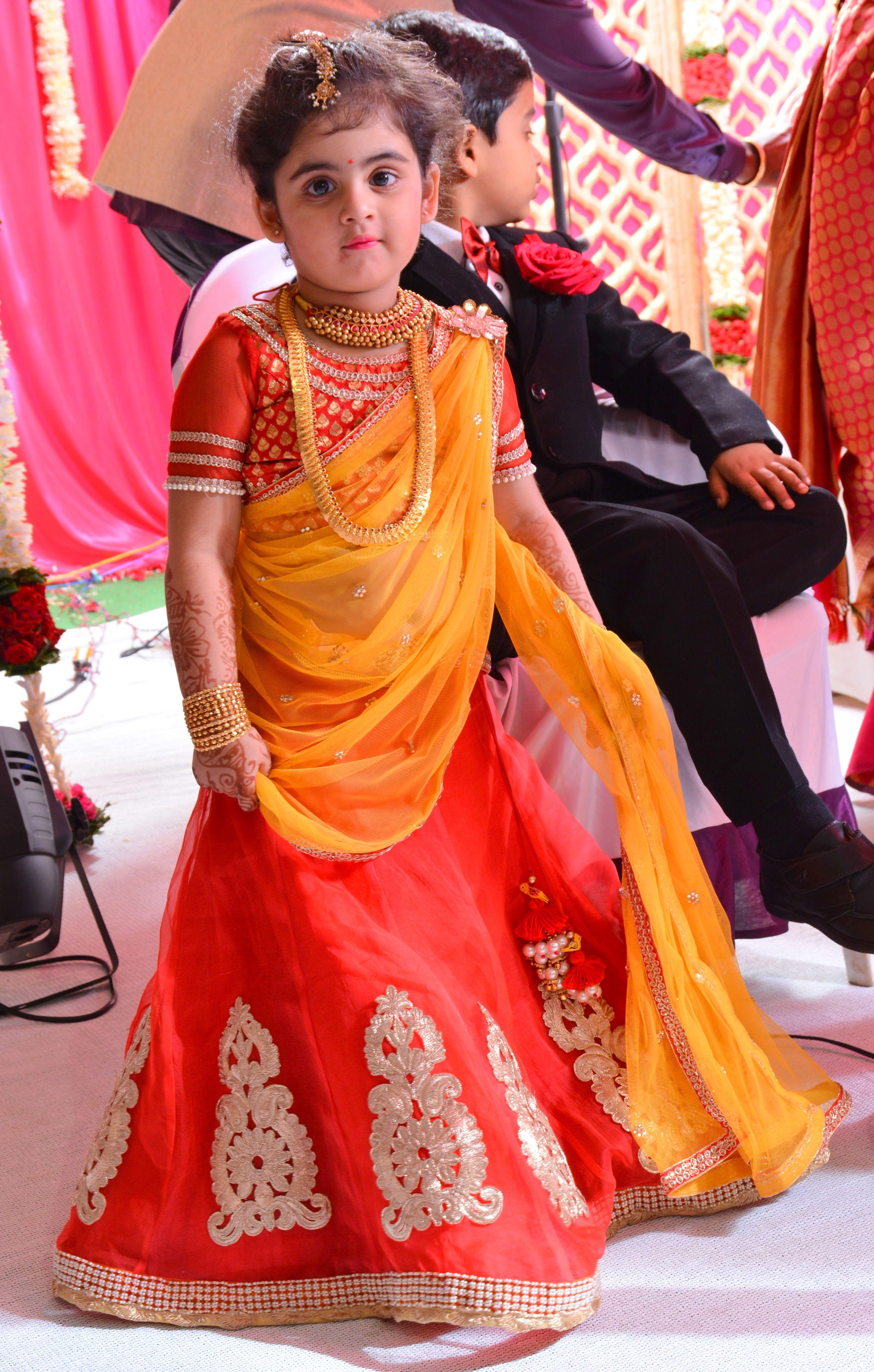 609c536b9 So so cute... | bride in 2019 | Kids dress wear, Kids lehenga, Baby ...