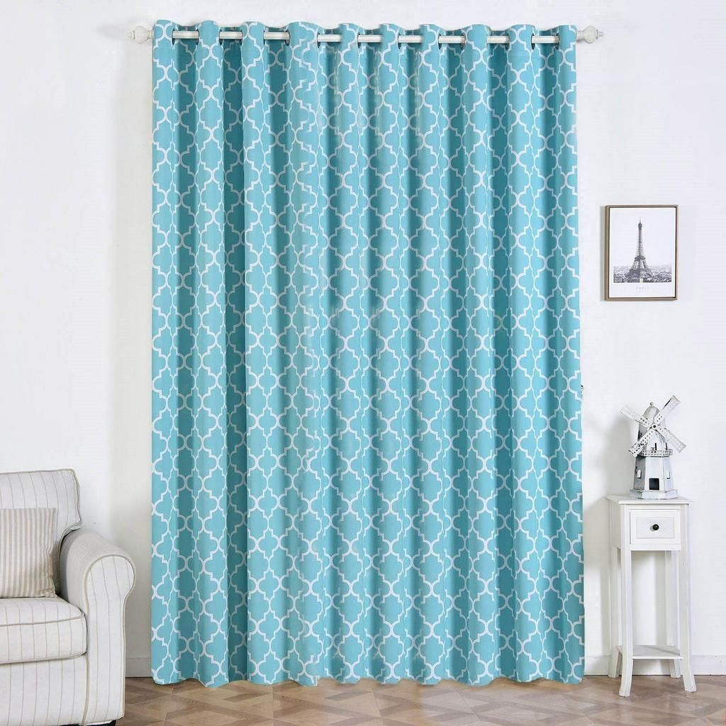 Lattice Print Curtains 2 Packs White Turquoise Blackout