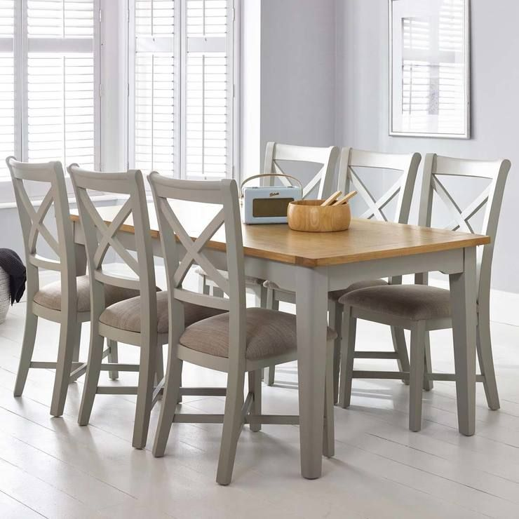 Bordeaux Painted Light Grey Large Extending Dining Table 6 Chairs Seats 8