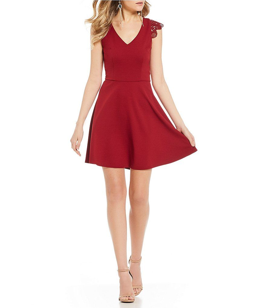6f58f50aeb I.N. San Francisco V-Neck Crochet Sleeve Fit-And-Flare Dress in 2019 ...