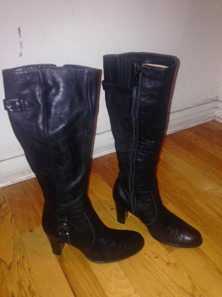 208dd52a9ce BELLE Black Leather Knee High Boots w High Heel Women size 6 US 4 UK225   fashion  clothing  shoes  accessories  womensshoes  boots (ebay link)