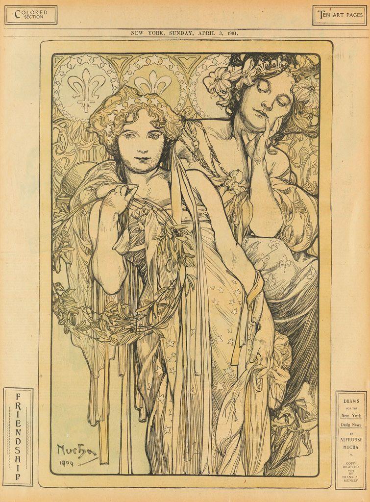 Alphonse Mucha 1860 1939 Friendship New York Daily News April