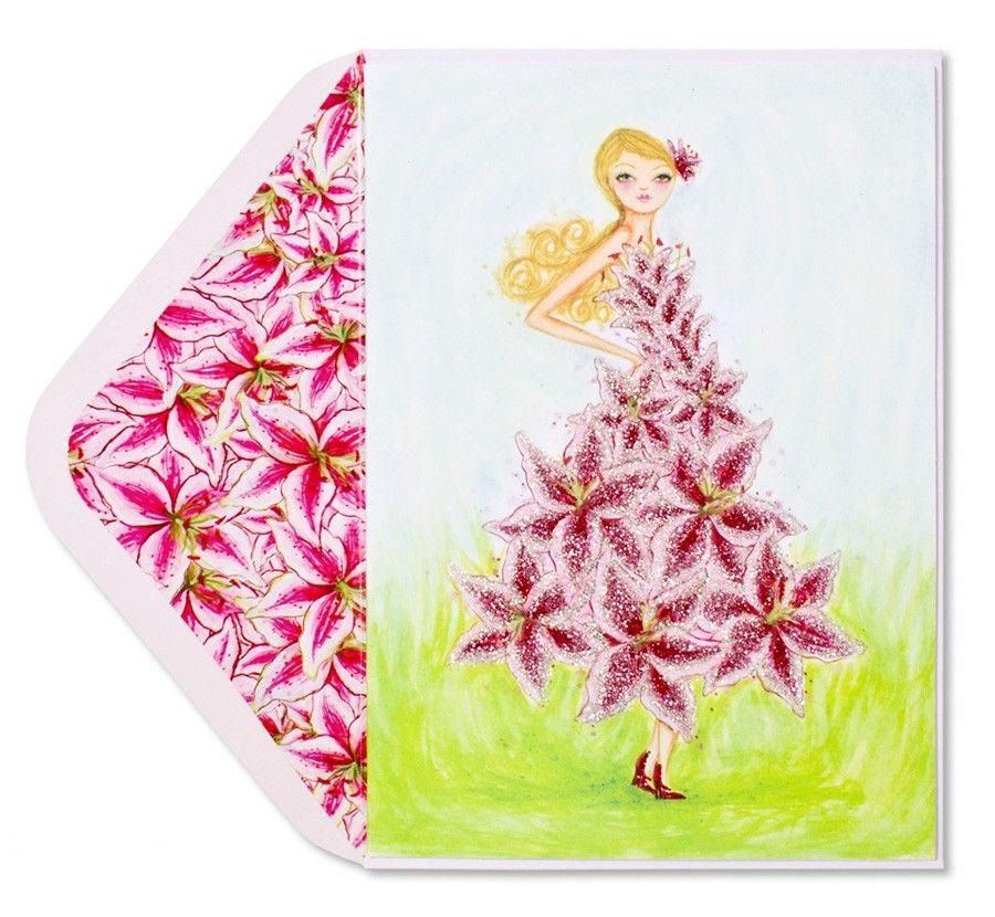 Papyrus Valentine/'s Day Card BELLA PILAR Fashion Girl Red Glitter Rose Dress