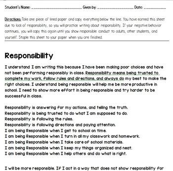 Misbehavior Responsibility Essay Short Student Goals Behavior For To Write