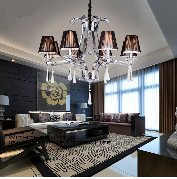 European American Style Modern Crystal Chandelier Fixture 6 Lights Lustre Sitting Room Led Lamps LED