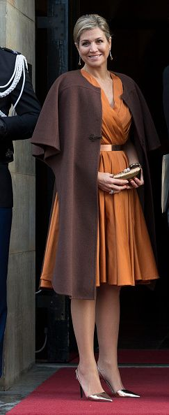 Queen Maxima of The Neterlands, wearing a dress by Dutch designer Mattijs van Bergen arrives to attend the New Year's reception for the diplomatic corps at the Royal Palace on January 13, 2015 in Amsterdam Netherlands.