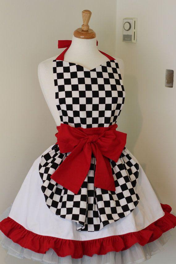 98791a666624 Retro Waitress Apron 50s Car Hop Soda Shop Check by CherryTiki | All ...