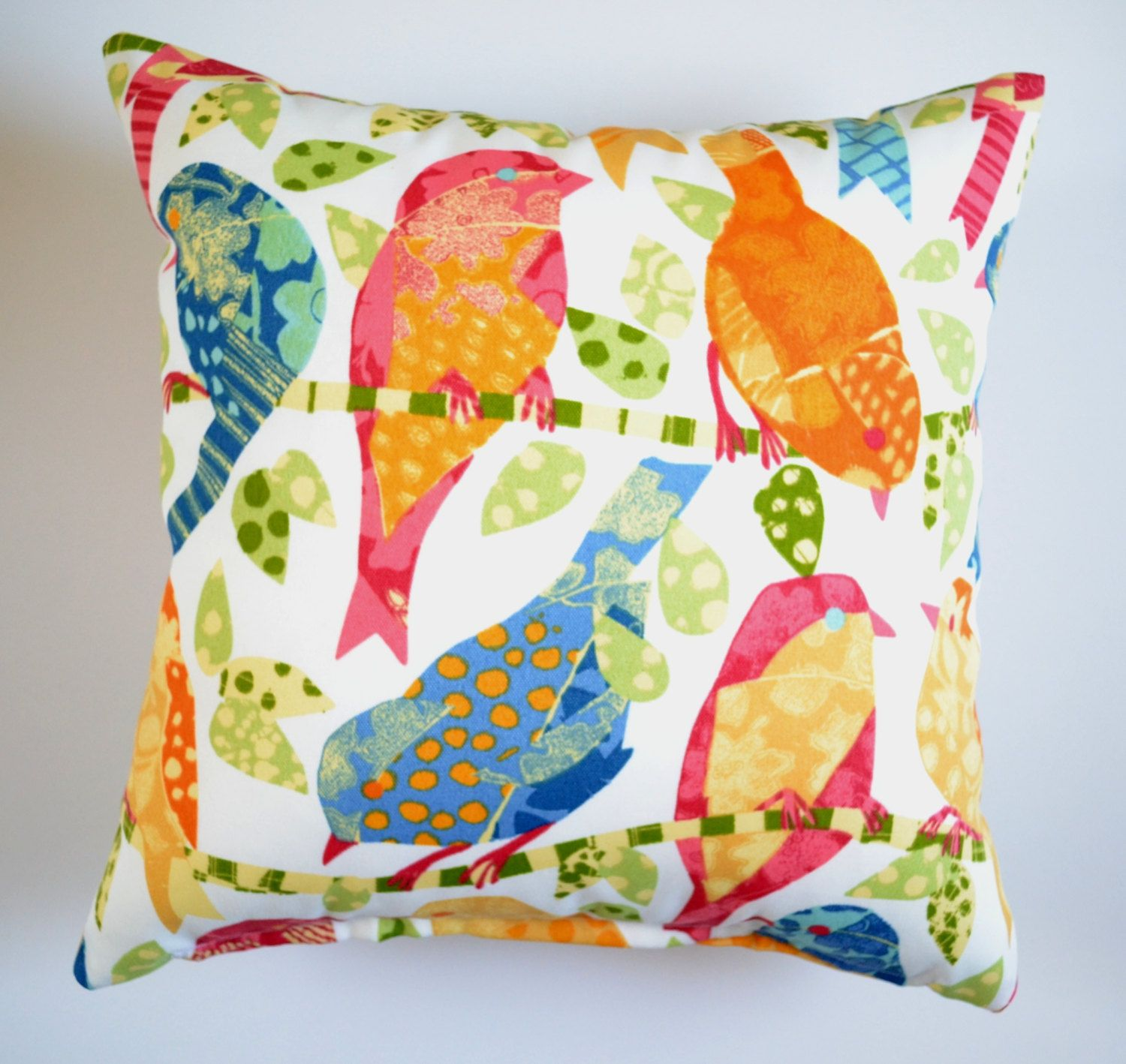 Bird Hangout Outdoor Indoor Cushion Cover Sun Soil Water Stain Resistant Multi Coloured Throw Pillow Scatter Cushion Birds Nature Outdoor Cushion Covers Throw Pillows Deck Cushions