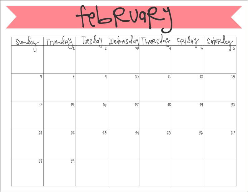 February  Calendar  Free Printable  Printable Monthly