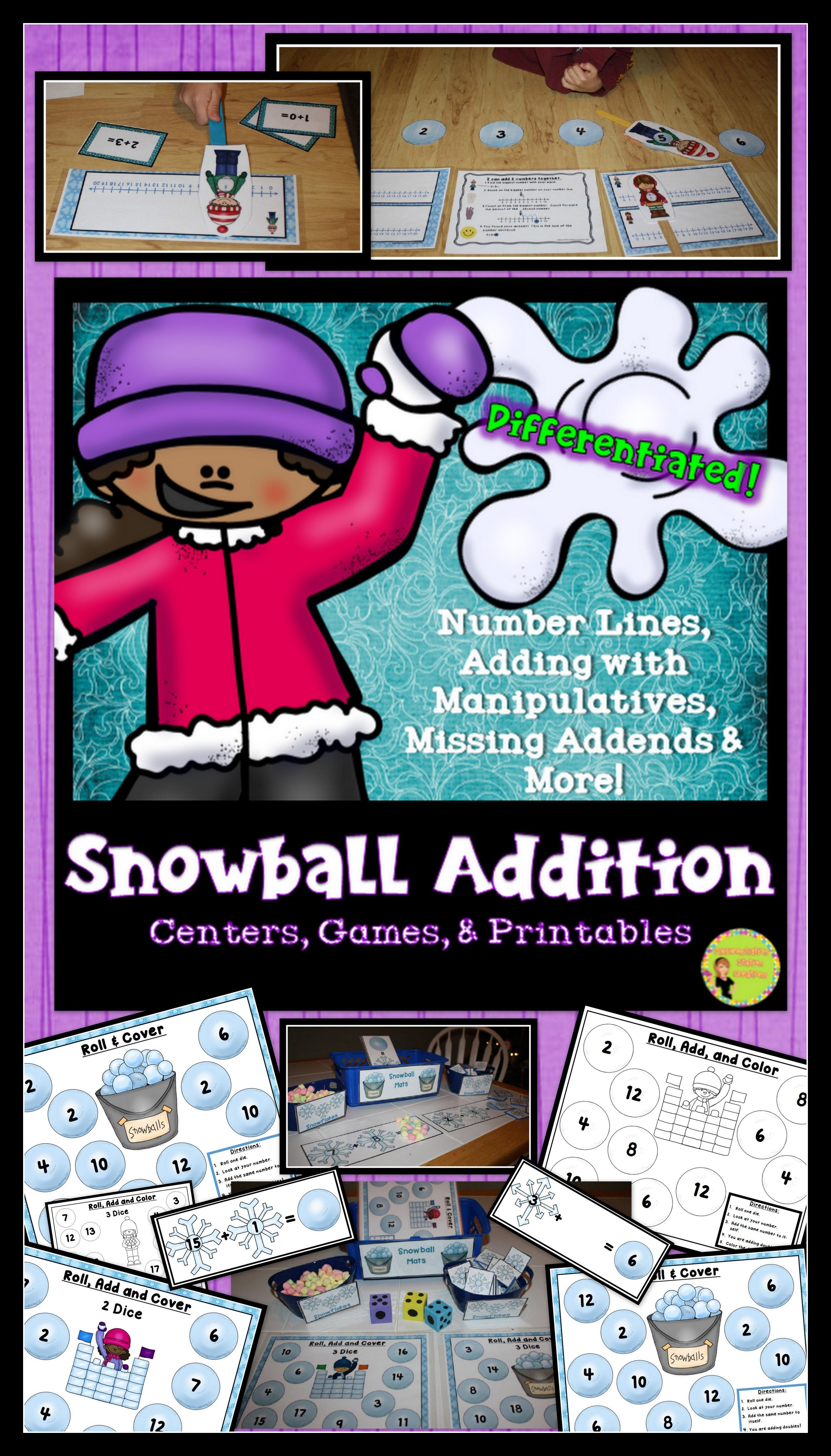 Addition Number Lines Missing Addends Snowball Addition