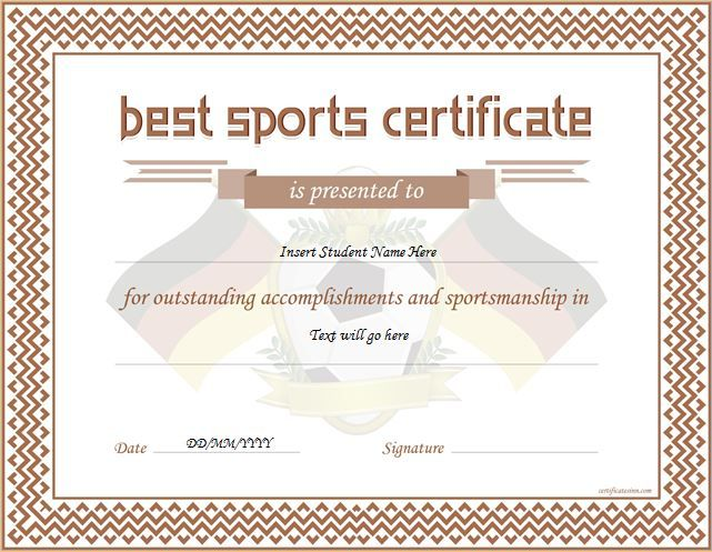 Sports Certificate DOWNLOAD at http\/\/certificatesinn\/sports - certificate template word