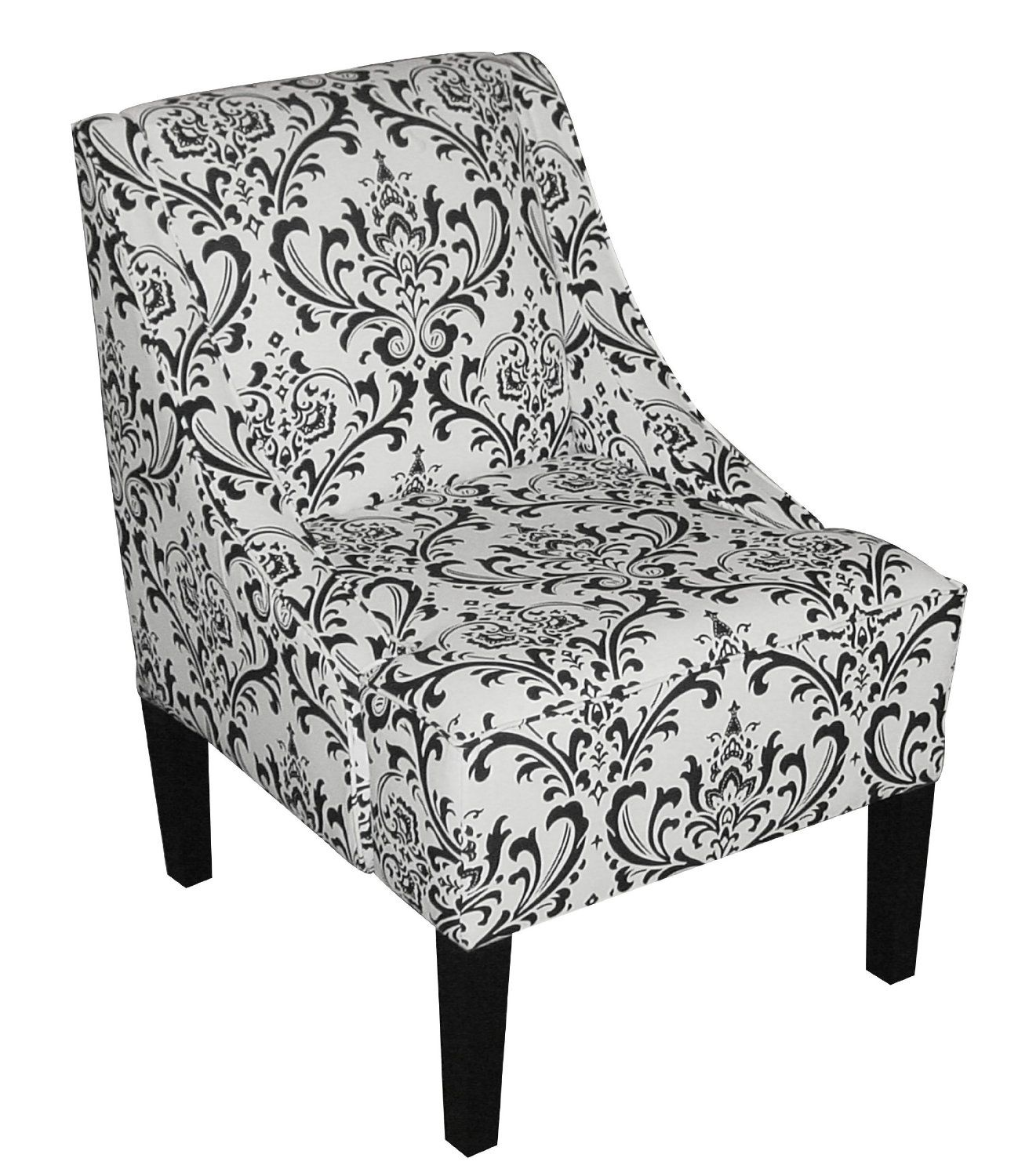 Floral black and white chair 211 Black and white